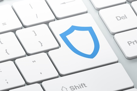 Enter button with contoured shield on computer keyboard, 3d render Stock Photo - 16926986