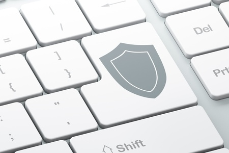 Enter button with shield on computer keyboard, 3d render Stock Photo - 16926987