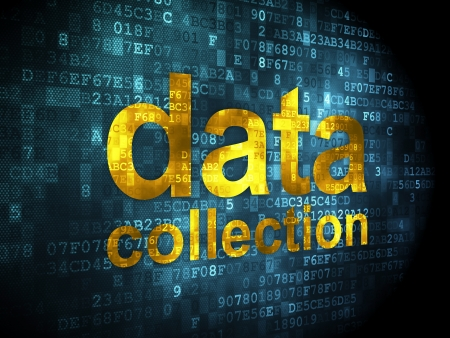 Information concept: pixelated words data collection on digital background, 3d render Stock Photo - 16927058