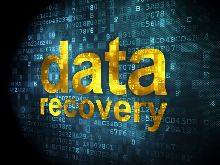 Information concept: pixelated words data recovery on digital background, 3d render Stock Photo - 16927057