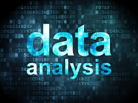 Information concept: pixelated words data analysis on digital background, 3d render Stock Photo - 16927026