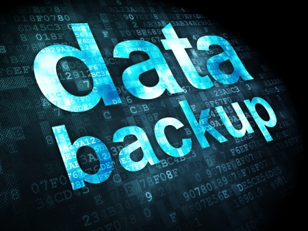 Information concept: pixelated words data backup on digital background, 3d render photo