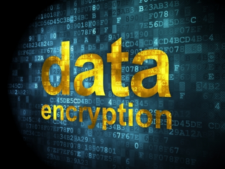 Information concept: pixelated words data encryption on digital background, 3d render photo