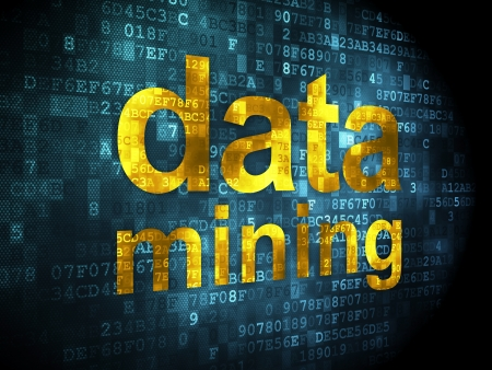 mining gold: Information concept: pixelated words data mining on digital background, 3d render