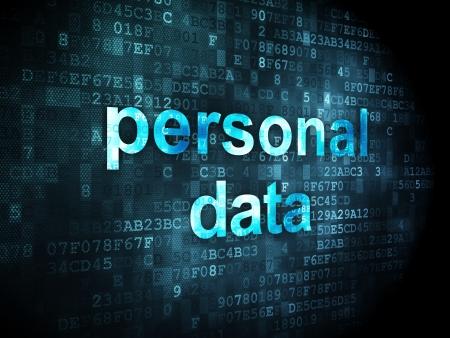 Información concepto: palabras pixeladas de datos personales en fondo digital, 3d render