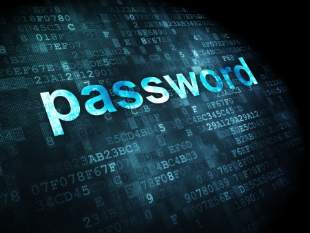 Information concept: pixelated words password on digital background, 3d render Stock Photo - 16927014