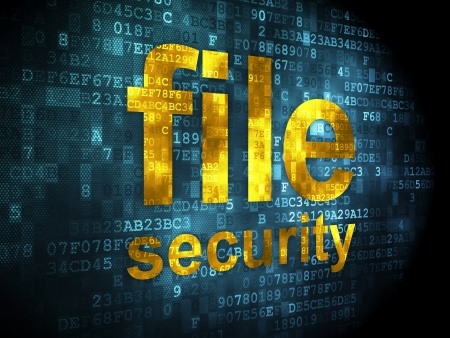 Security concept: pixelated words file security on digital background, 3d render Stock Photo - 16927052