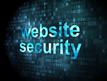 Security concept: pixelated words website security on digital background, 3d render Stock Photo - 16927012