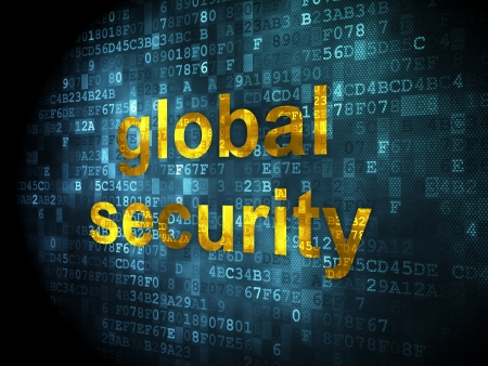 Security concept: pixelated words global security on digital background, 3d render Stock Photo - 16927056