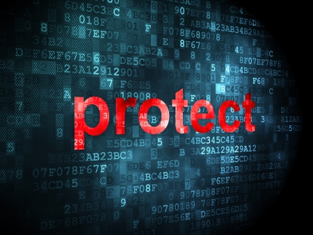 Security concept: pixelated words protect on digital background, 3d render Stock Photo - 16927029