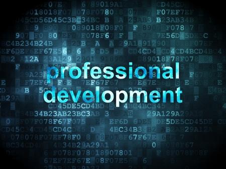 Concepto de la educaci�n: las palabras pixeladas de desarrollo profesional en el fondo digital, 3d render Foto de archivo