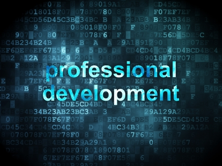 curso de capacitacion: Concepto de la educaci�n: las palabras pixeladas de desarrollo profesional en el fondo digital, 3d render Foto de archivo