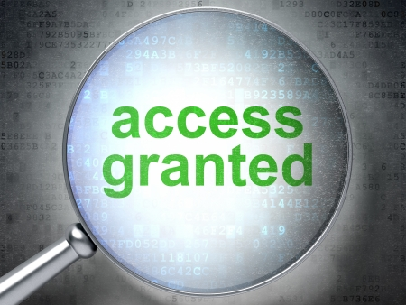 access granted: Magnifying optical glass with words access granted on digital background, 3d render Stock Photo