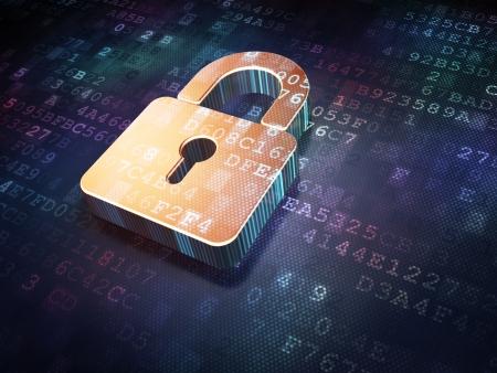 Concepto de seguridad: candado cerrado en fondo de oro digital, 3d render