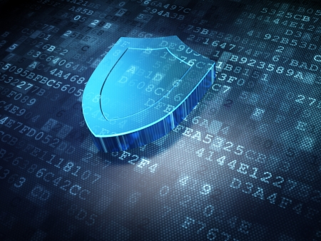 Security concept: blue shield on digital background, 3d render Stock Photo - 16927108