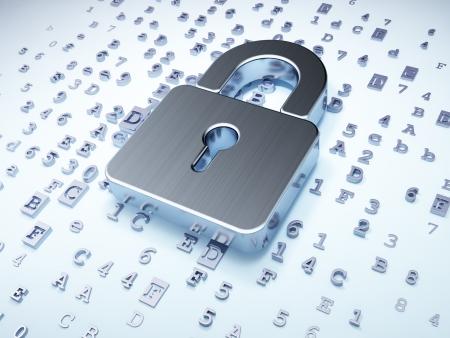 Concepto de seguridad: plata candado cerrado en fondo digital, 3d render