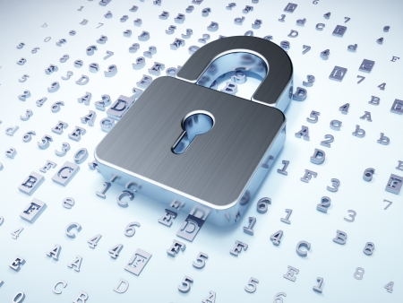 Security concept: silver closed padlock on digital background, 3d render photo