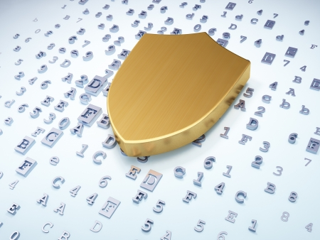 Security concept: golden shield on digital background, 3d render photo