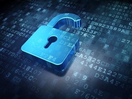 to lock: Concetto di sicurezza: blu lucchetto aperto su sfondo digitale, rendering 3d
