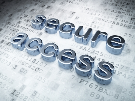 Security concept: silver secure access on digital background, 3d render photo