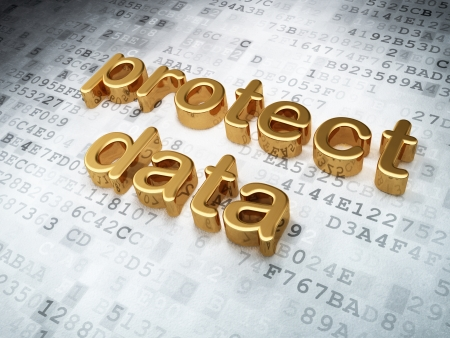 Security concept: golden protect data on digital background, 3d render Stock Photo - 16927095