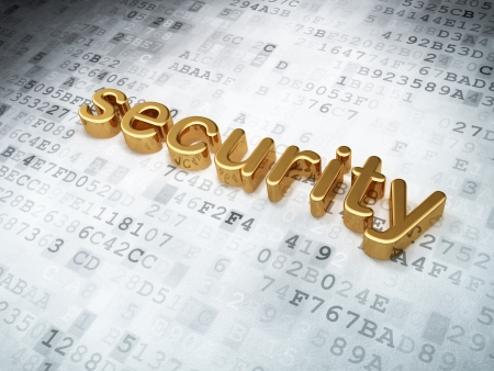 Security concept: golden security on digital background, 3d render photo