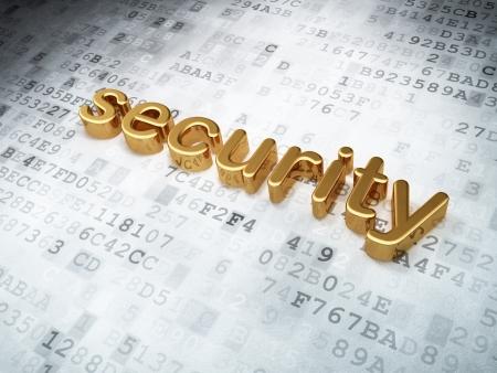 Security concept: golden security on digital background, 3d render Stock Photo - 16927091