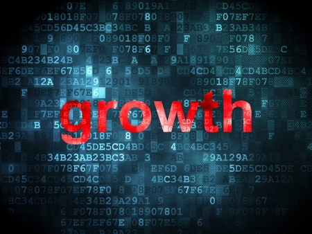 business concept: pixelated words Growth on digital background, 3d render Stock Photo - 16927143