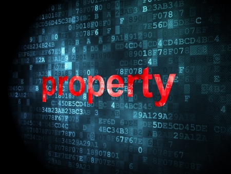 business concept: pixelated words Property on digital background, 3d render Stock Photo - 16927137
