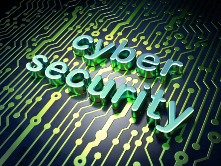 cyber security: Security concept  circuit board with word cyber security, 3d render Stock Photo