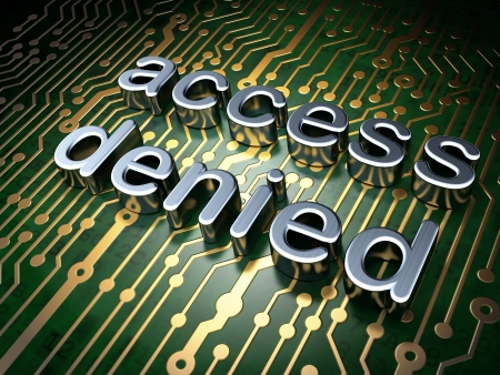 Security concept  circuit board with word access denied, 3d render Stock Photo - 17011718