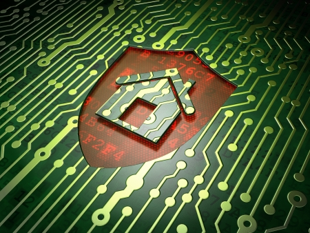 Security concept  circuit board with shield icon, 3d render Stock Photo - 17011726