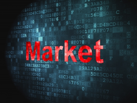 Business concept  pixelated words Market on digital background, 3d render photo