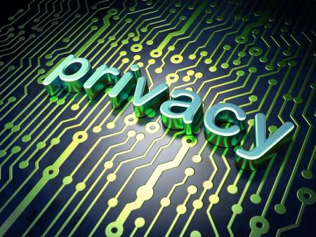 Concepto de privacidad placa de circuito en la vida privada palabra, 3d render