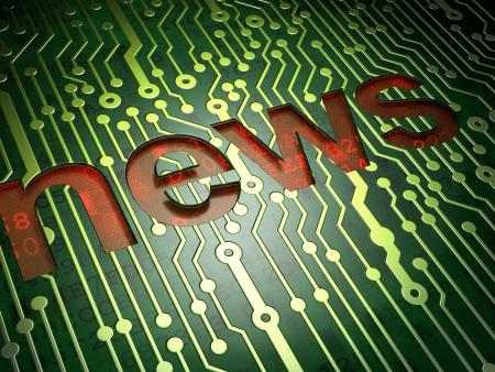 News concept  circuit board with word News, 3d render Stock Photo - 17549389