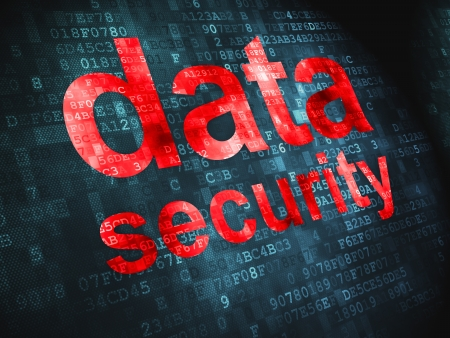 Privacy concept  pixelated words Data Security on digital background, 3d render Stock Photo - 17549451