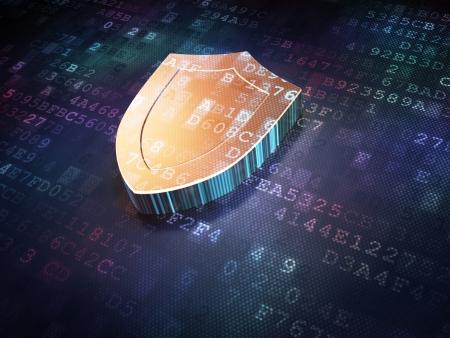 защита: Концепция защиты золотой щит на фоне цифровой, 3d визуализации