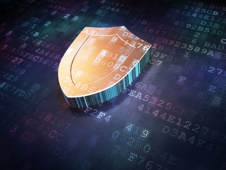 encryption: Protection concept  Golden Shield on digital background, 3d render
