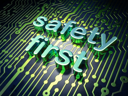 safety first: Privacy concept  circuit board with word Safety First, 3d render Stock Photo