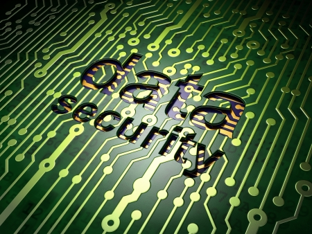 Safety concept  circuit board with word Data Security, 3d render photo