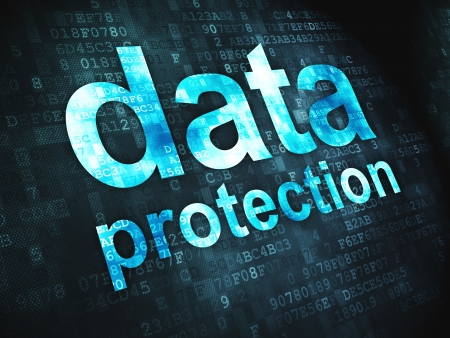 Safety concept  pixelated words Data Protection on digital background, 3d render Stock Photo - 17549397
