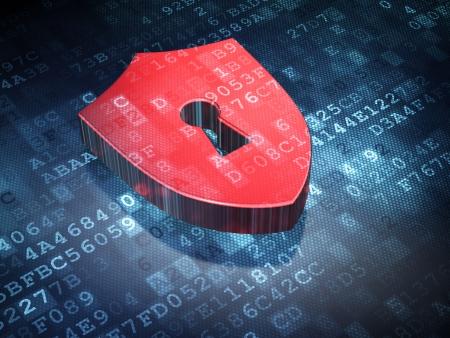 Privacidad concepto Red Shield Con Keyhole en fondo digital, 3d render