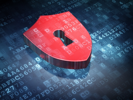 sheild: Privacy concept  Red Shield With Keyhole on digital background, 3d render Stock Photo