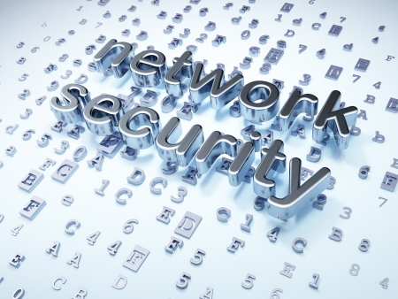 Safety concept  Silver Network Security on digital background, 3d render Stock Photo - 17549354