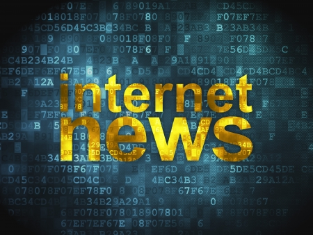 News concept  pixelated words Internet News on digital background, 3d render Stock Photo - 17549402
