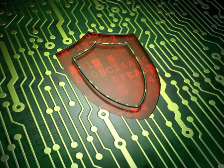 Security concept  circuit board with Shield icon, 3d render Stock Photo - 17549341