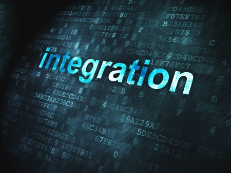 integrate: Finance concept  pixelated words Integration on digital background, 3d render Stock Photo