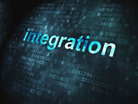 Finanzas Integraci�n palabras pixelada en concepto de fondo digital, 3D, render