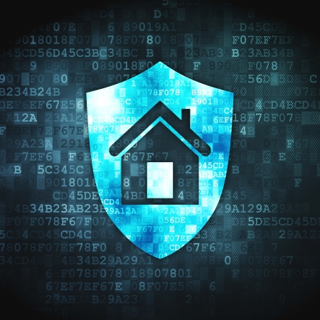 cyber crime: Protection concept  pixelated Shield icon on digital background, 3d render