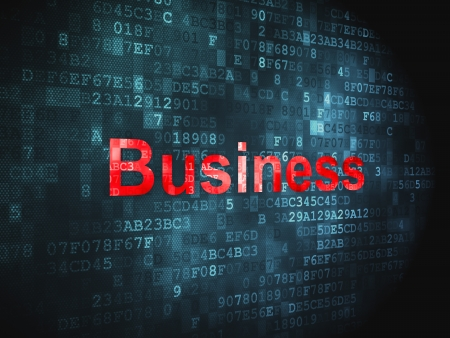 Business concept  pixelated words Business on digital background, 3d render Stock Photo - 17549363